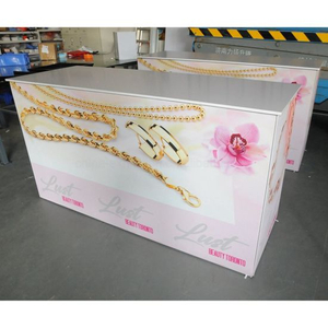 Custom Design Printing Portabel Aluminium Trade Show Equipment Tabel Berdiri Promosi Kontra